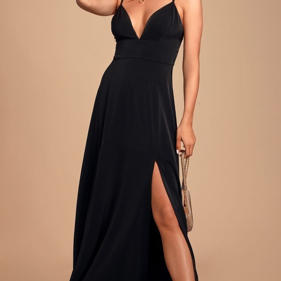Lulu's Dresses & Skirts - Lulus Dreaming Of Love Black Satin Maxi Dress